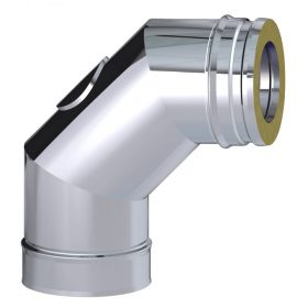 Dinak DW Twin Wall Stainless Steel 87 Degree Elbow with Inspection Door